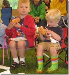 Boys Eating Hot Dogs